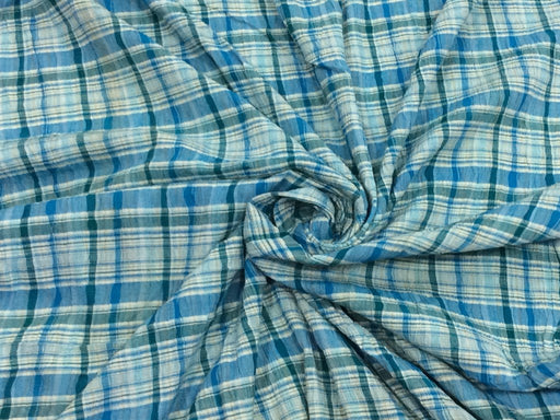 Blue Checks Cotton Crepe Lycra Fabric