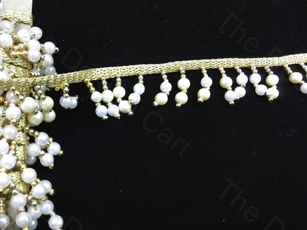 White & Golden Round Bugle Beads Lace | The Design Cart