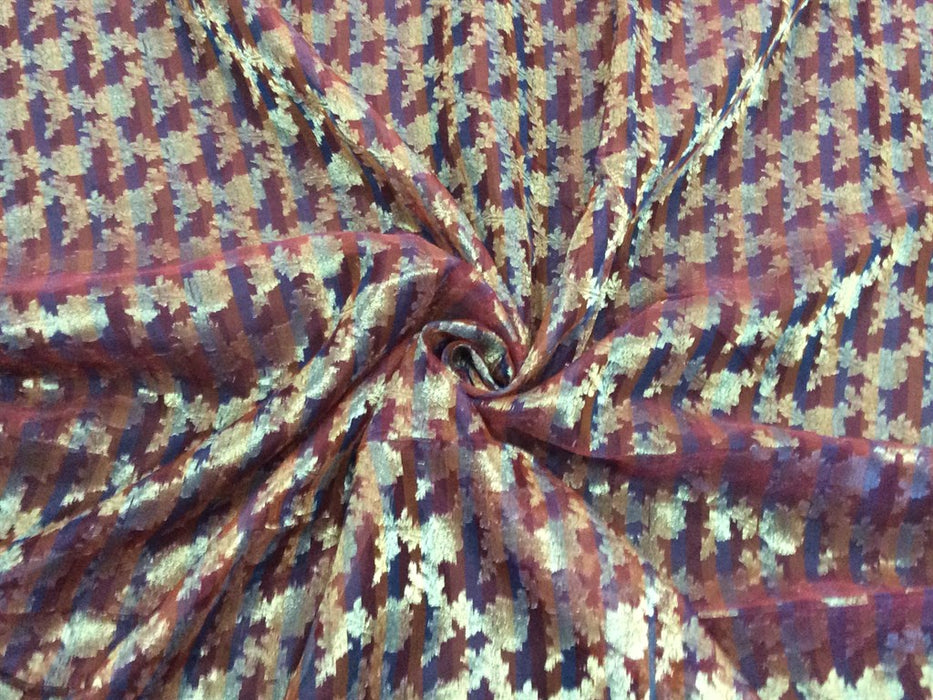 Maroon Floral Chanderi Jacquard Fabric