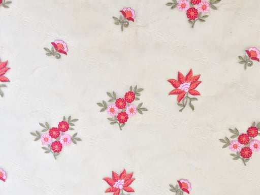 Cream Red Floral Design Organza Fabric