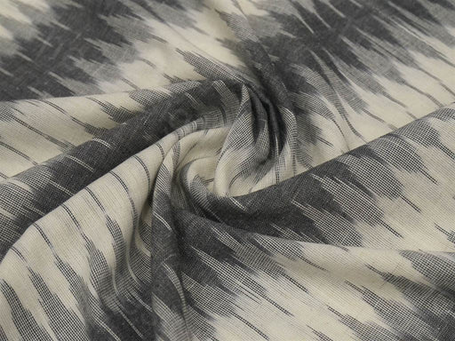 Gray Cream / Off White Mosaic Design Ikat Cotton Fabric