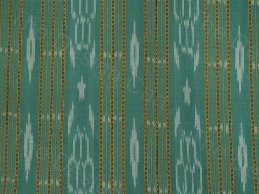 Green White Straight Patch Design Ikat Cotton Fabric