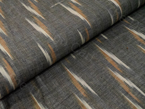 Gray Brown Single Ikat Cotton Fabric (1572557717538)