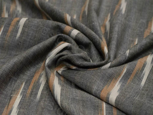 Gray Brown Single Ikat Cotton Fabric