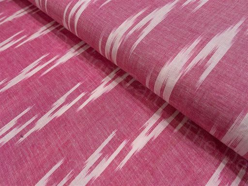 Pink White Single Ikat Cotton Fabric