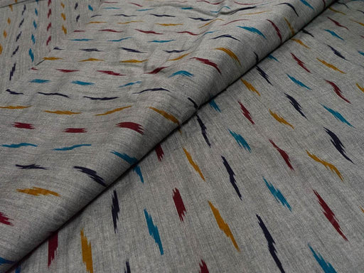 Gray Multicolour Single Ikat Cotton Fabric