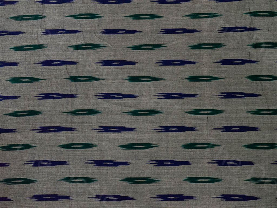 Gray Blue Single Ikat Cotton Fabric
