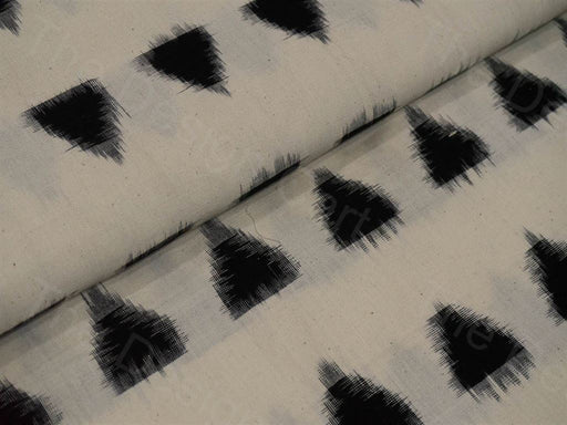 Cream / Off White Black Double Ikat Cotton Fabric