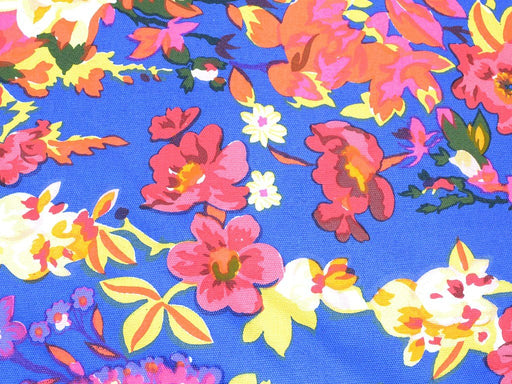 Blue Multicolour Floral Cotton Canvas Fabric