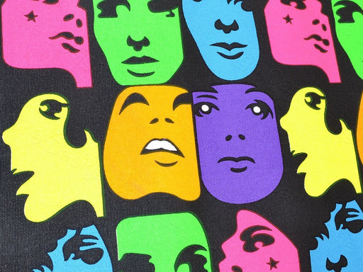 Multicolour Pop Art Face Print Cotton Canvas Fabric