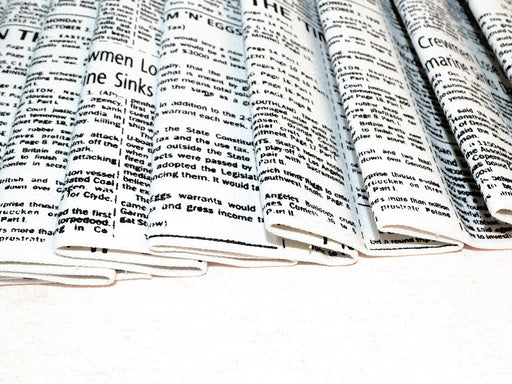 White Newspaper Print Cotton Canvas Fabric