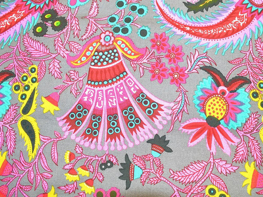 Grey Multicolour Floral Print Cotton Canvas Fabric