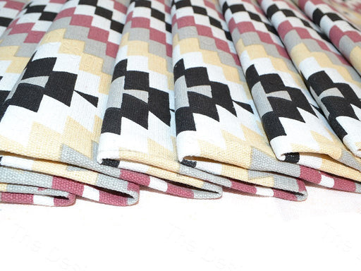Multicolour Geometric Print Cotton Canvas Fabric