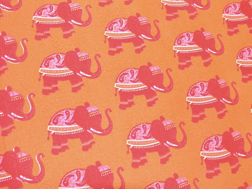 Orange Red Elephant Print Cotton Canvas Fabric