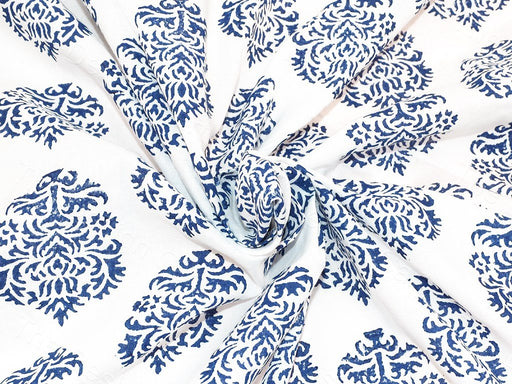 White Blue Booti Design Cotton Fabric