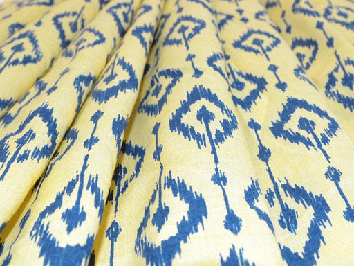 Yellow Blue -Ikat Print Design Cotton Fabric