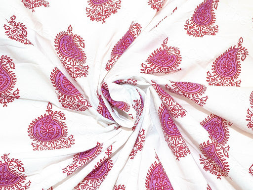 Purple Paisley Leaves Design Cotton Fabric