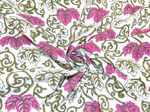 Purple Green Creeper Leaf Design Cotton Fabric