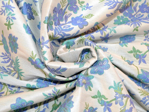 Pastel Green Flower Polyester Jacquard Fabric