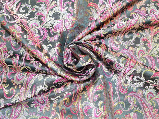 Black Pink Paisely Polyester Jacquard Fabric