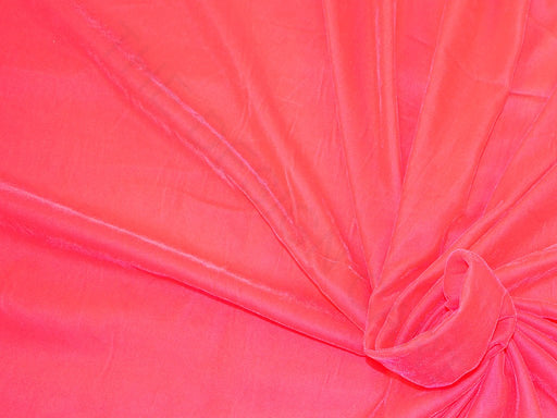 Plain Coral Red Velvet Fabric