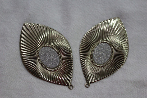 Silver Golden Leaf Metal Brooch