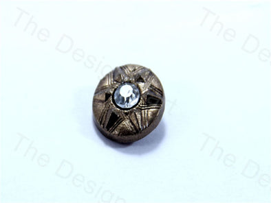 Brown Round Center Stone Design Acrylic Buttons