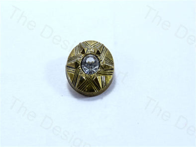 Metalic Golden Round Pyramid Design Acrylic Buttons