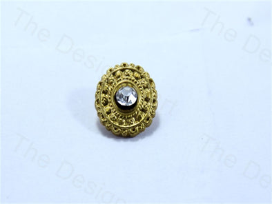 Golden Round Flower With Stone Design Acrylic Buttons