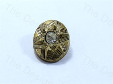 Metalic Golden Round Pyramid Stone Design Acrylic Buttons