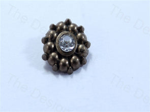 Metalic Brown Round Center Stone Design Acrylic Buttons