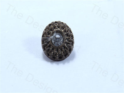 Metalic Brown Round Uneven Center Stone Design Acrylic Buttons
