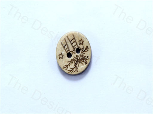 Cream / Off White Round Tree Design Coconut Buttons