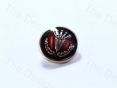 Maroon Round Crown And Olive Leaf Design Designer Suit Buttons