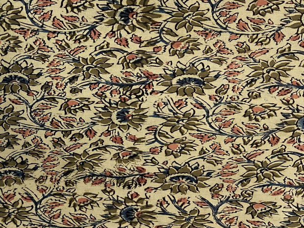 Beige Sand Brown Red Flowers Kalamkari Printed Cotton Fabric