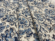 Sandy White Blue Kalamkari Printed Cotton Fabric