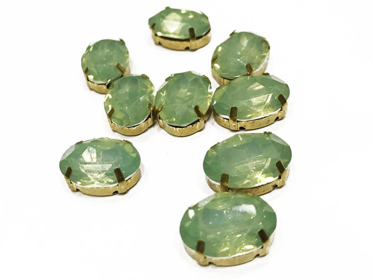 Sea Green Opal Oval Resin Stones with Catcher (18x13 mm) (4539522809925)