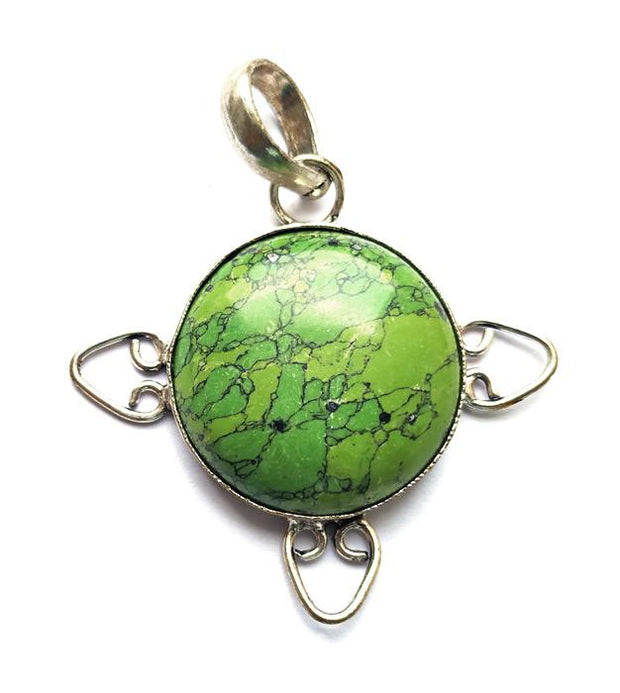 Green Shaded Metal Framed Stone Pendant