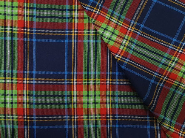 Navy Blue and Sharp Green Checks Yarn Dyed Twill Cotton Fabric
