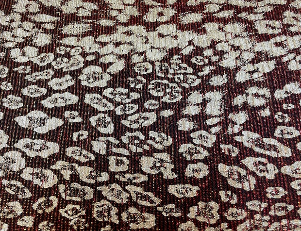 Maroon Leopard Printed Shimmer Lycra Fabric