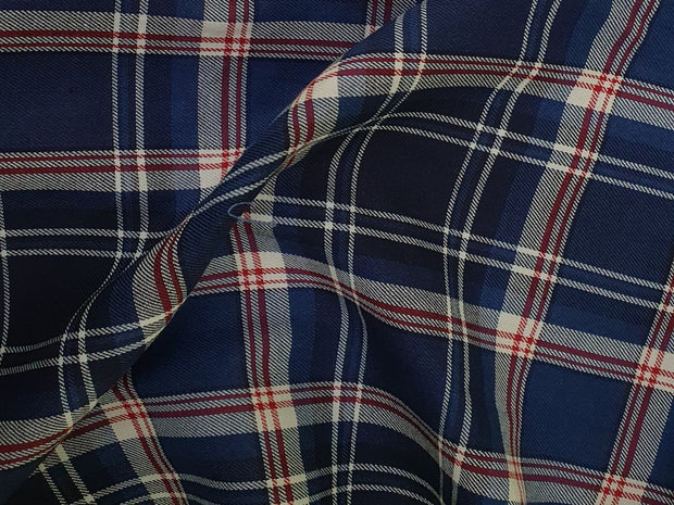 Shiny Blue and White Yarn Dyed Twill Checks Cotton Fabric