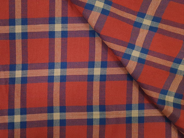 Shiny Orange and Blue Yarn Dyed Twill Brushed Cotton Fabric