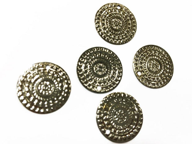 Silver Circular Designer Metal Charms (16 mm)