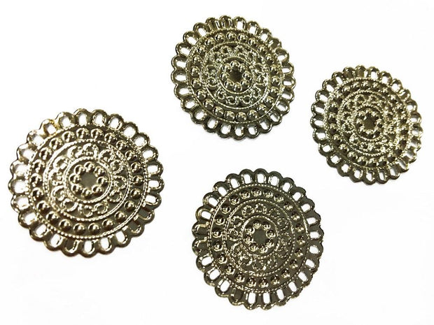 Silver Circular Designer Metal Charms (25 mm)
