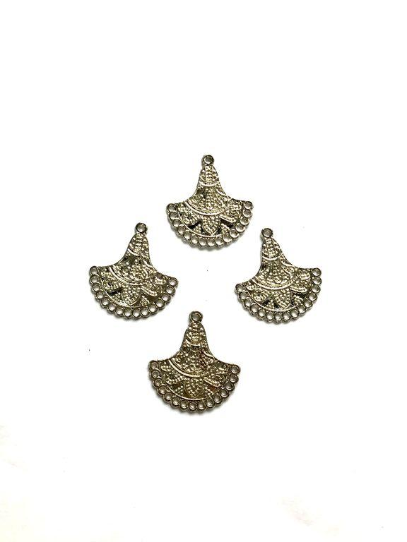 Silver Jhumar Metal Piece Embellishments (32x30 mm)