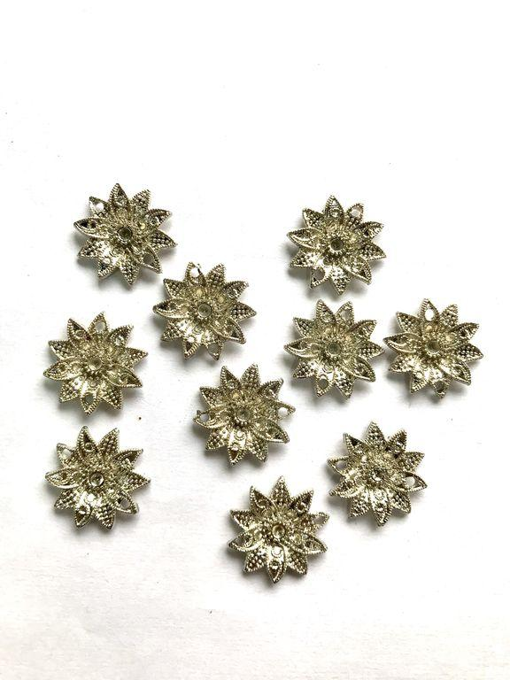 Silver Flower Metal Piece Embellishments