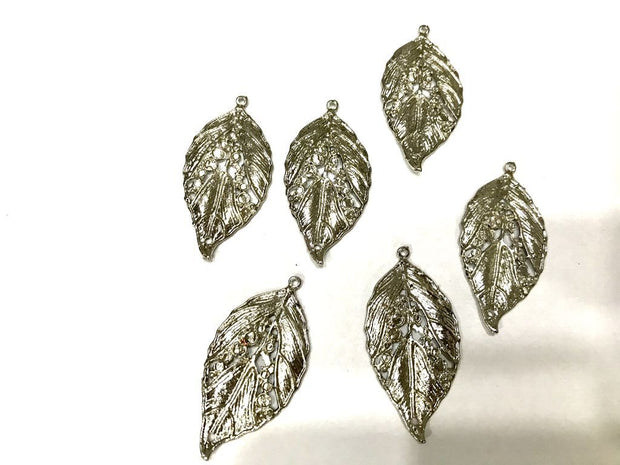 Silver Metal Leaf Pendant (50x25 mm)