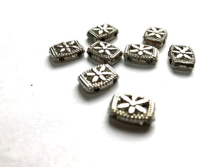 Silver Rectangular Metal Charms (14x10 mm) (4481089634373)