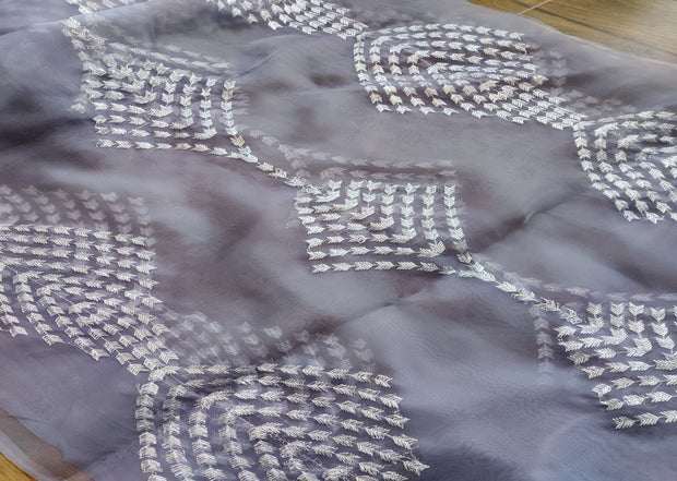 Gray Silver Tilla Zari Geometric Embroidered Organza Fabric