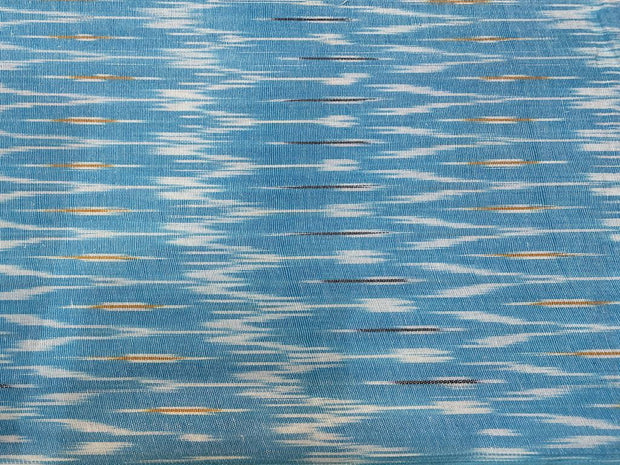 Sky Blue White Abstract Printed Cotton Ikat Fabric